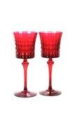 Set dwa czerwonego wineglasses z wzorem fotografia royalty free