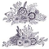 Set dwa pięknego fantazja bukieta z ręką rysującą kwitnie, rośliny, gałąź ilustracja wektor