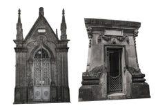 Set dwa różnej fasady starzy crypts pojedynczy białe tło Obrazy Royalty Free