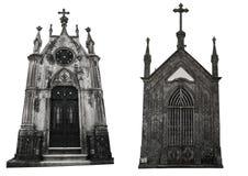 Set dwa różnej fasady starzy crypts pojedynczy białe tło Zdjęcia Stock