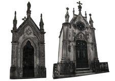 Set dwa różnej fasady starzy crypts pojedynczy białe tło Obraz Stock