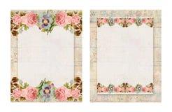 Set dwa rocznika szyka Printable podławego stylu kwiecista róża stacjonarna na drewnianym tle ilustracja wektor