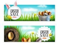 Set dwa Wielkanocnego sztandaru w realistycznym stylu royalty ilustracja
