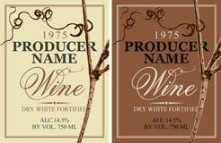 Set dwa wino etykietki z winoroślą ilustracji