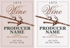 Set dwa wino etykietki z winoroślą royalty ilustracja