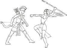 Set dwa zbrojącej cudu Amazon kobiety ilustracja wektor