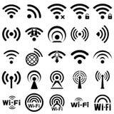 Set dwadzieścia pięć wifi ikon Zdjęcie Stock