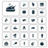 Set dwadzieścia siedem karmowych ikon Zdjęcie Stock
