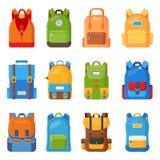 Set dwanaście barwiących szkolnych plecaków Edukaci i nauki płaska kolekcja szkoła, z powrotem, schoolbag bagaż, plecak royalty ilustracja