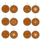 Set dwanaście kółkowych pomarańczowych spodń z płatkami śniegu ilustracja wektor