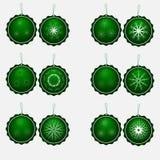 Set dwanaście kurend zielonych spodń z płatkami śniegu royalty ilustracja