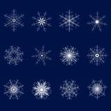 Set dwanaście płatków śniegu na błękitnym tle Drugi set ilustracja wektor