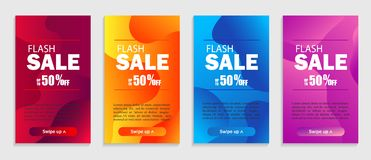 Set of dynamic geometric liquid shapes. Modern design covers for website, presentations or mobile apps.Vector sale template royalty free illustration