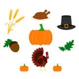 Set dziękczynienie dnia ikony kolor ilustracja wektor