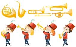 Set dzieci bawić się instrumenty muzycznych ilustracja wektor