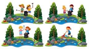 Set dzieci Czyści rzekę ilustracja wektor