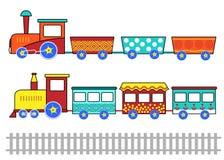 Set dzieciak kreskówki pociągi royalty ilustracja