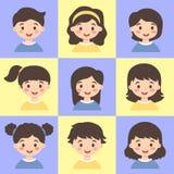 Set dzieciak twarzy Avatar Błękitny Żółty wektor Obraz Stock