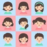 Set dzieciak twarzy Avatar menchii turkusu wektor Zdjęcia Royalty Free