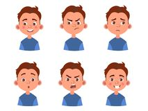 Set dzieciaka ` s emocje Wyraz twarzy Kreskówki chłopiec avatar Wektorowa ilustracja kreskówki dziecka charakter ilustracji