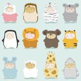 Set dzieciaki w ślicznych zwierzęcych kostiumach 2 Zdjęcie Royalty Free