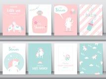 Set dziecko prysznic zaproszeń karty, plakat, powitanie, szablon, zwierzęta, jednorożec, fantazja, urodziny, szczęśliwy, magiczny ilustracji