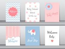 Set dziecko prysznic zaproszenia karty, plakat, szablon, kartka z pozdrowieniami, zwierzę, słoń, kropka ilustracji