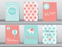 Set dziecko prysznic zaproszenia karty, plakat, szablon, kartka z pozdrowieniami, zwierzę, słoń, kropka, Wektorowe ilustracje Zdjęcie Royalty Free