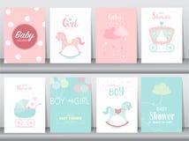 Set dziecko prysznic zaproszenia karty, urodzinowe karty, plakat, szablon, kartka z pozdrowieniami, śliczni, kawaii, Kołysa konia ilustracja wektor