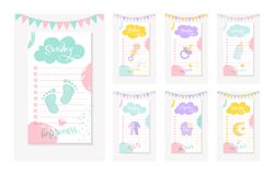 Set dziennik robić listom dla matki nowonarodzony dzieciak zdjęcie stock