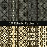 Set dziesięć bezszwowych wektorowych etnicznych wzorów Obrazy Royalty Free