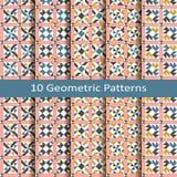 Set dziesięć bezszwowych wektorowych geometrycznych wzorów projekt dla płytek, pokrywa, tkanina Zdjęcie Stock