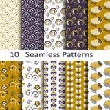 Set dziesięć bezszwowych wzorów Obrazy Stock