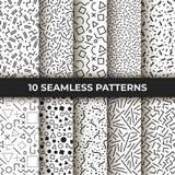 Set dziesięć bezszwowych wzorów Retro Memphis geometryczni kreskowi kształty Retro moda styl 80s abstrakcjonistyczny czarny biel ilustracja wektor
