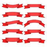Set dziesięć czerwoni sztandarów dla sieć projekta i faborki Zdjęcie Stock