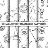 Set dziesięć Halloweenowych monochromatycznych sylwetek bezszwowych wzorów ilustracji
