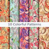 Set dziesięć kolorowych wzorów Zdjęcie Royalty Free