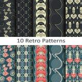 Set dziesięć retro wzorów Obrazy Stock