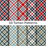 Set dziesięć tartanów wzorów Zdjęcie Stock