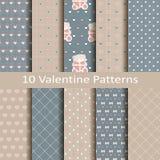 Set dziesięć valentine wzorów Zdjęcia Stock
