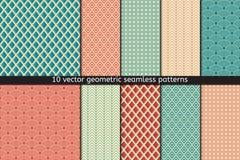 Set Dziesięć Wektorowych Bezszwowych wzorów W Błękitnych i Czerwonych kolorach Tekstylna tkanina Zdjęcia Stock