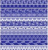 Set dziesięć bezszwowych granic w języka arabskiego stylu Obrazy Royalty Free