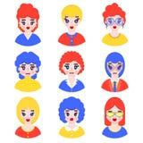Set dziewczyn avatars ilustracji