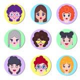 Set dziewczyny avatar royalty ilustracja