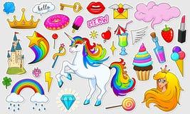 Set dziewczyny fasonuje śliczne łaty, zabawa majcherów, odznak i szpilek, Kolekcja różni elementy Princess i jednorożec ilustracji