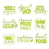 Set dziewięć żywność organiczna logo z literowaniem Zdrowa karmowa ręka rysować tekst kombinacje Obrazy Royalty Free