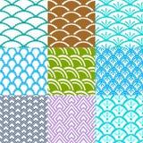 Set dziewięć azjatykcich geometrical wzorów płynnie tafluje ilustracji