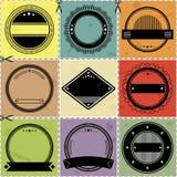 Set dziewięć blanc etykietek z retro projektującym projektem Zdjęcia Stock