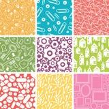 Set dziewięć gospodarstwo domowe przedmiotów bezszwowych wzorów Zdjęcia Stock