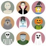 Set dziewięć Halloweenowych charakterów Obrazy Stock